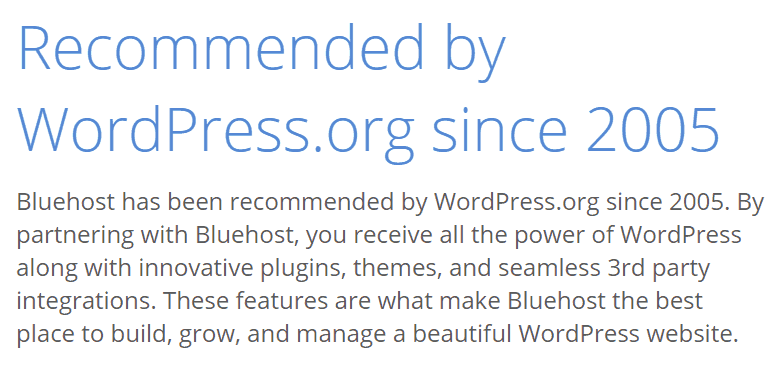 BlueHost Recommended by WordPress.org