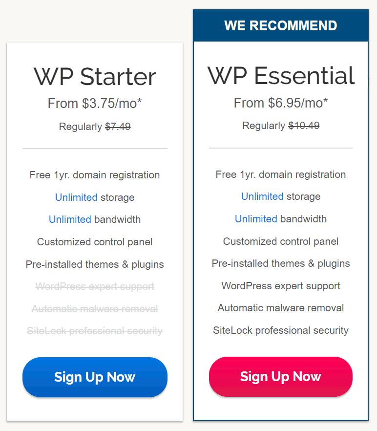 iPage WordPress plans